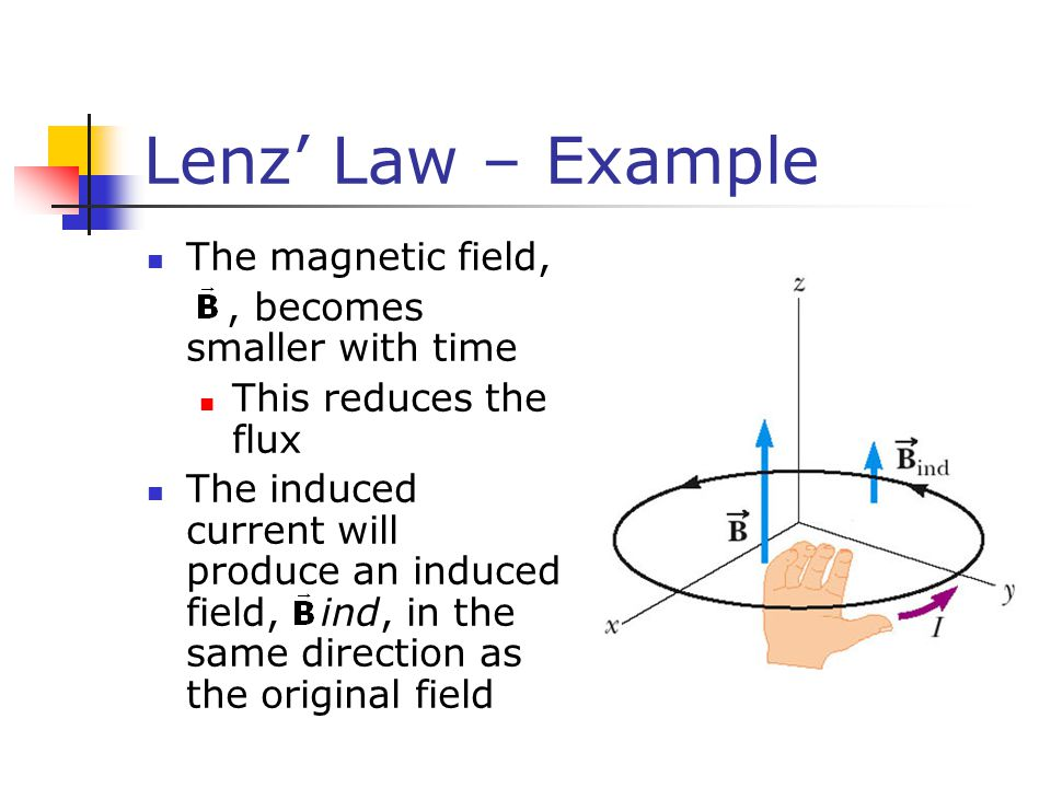 Lenz' Law – Example The magnetic field, , becomes smaller with time