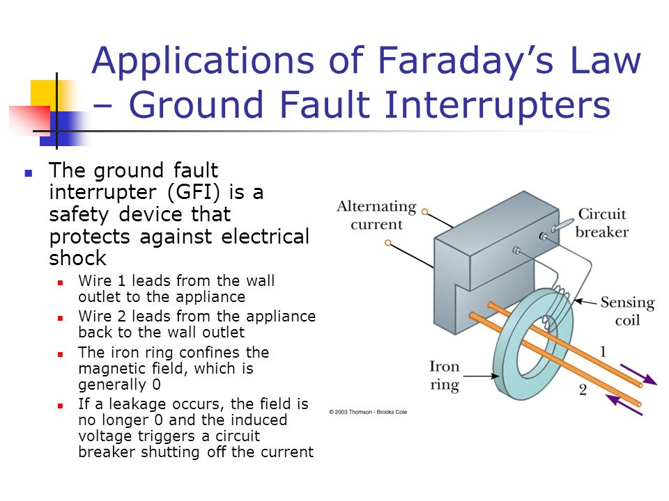 Applications of Faraday's Law – Ground Fault Interrupters