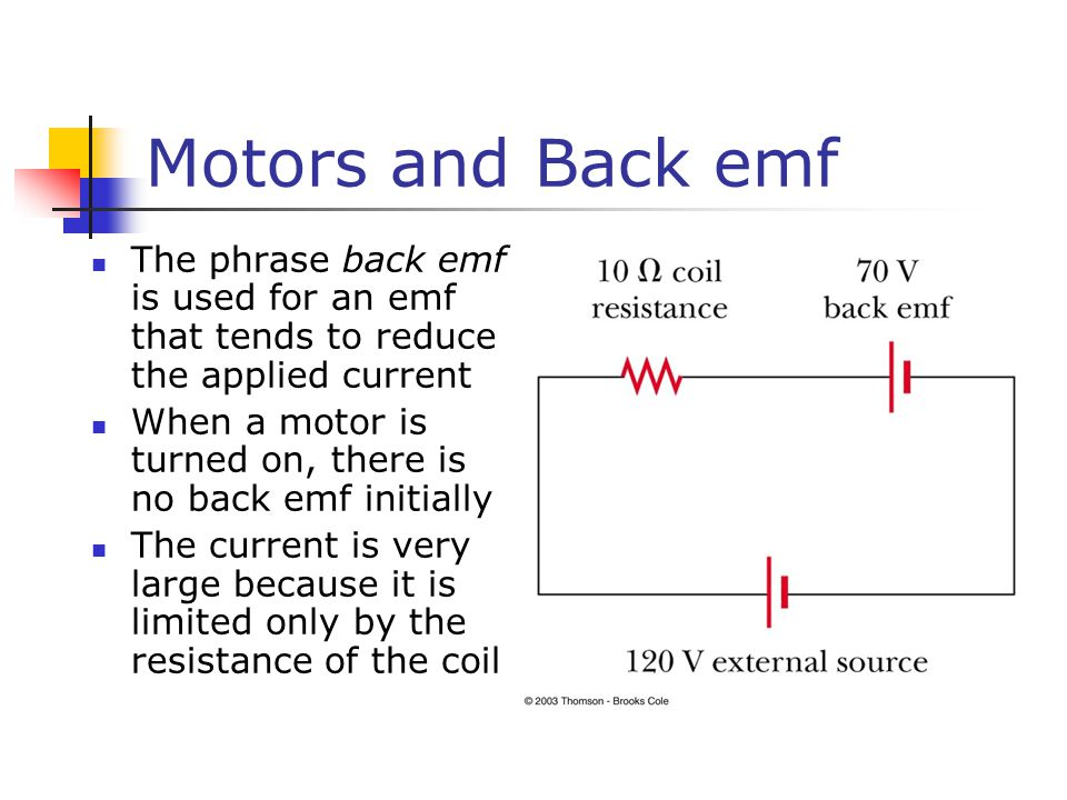 Motors and Back emf The phrase back emf is used for an emf that tends to reduce the applied current.