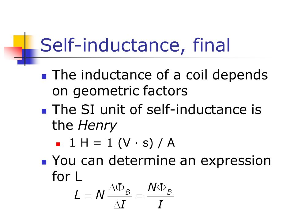 Self-inductance, final