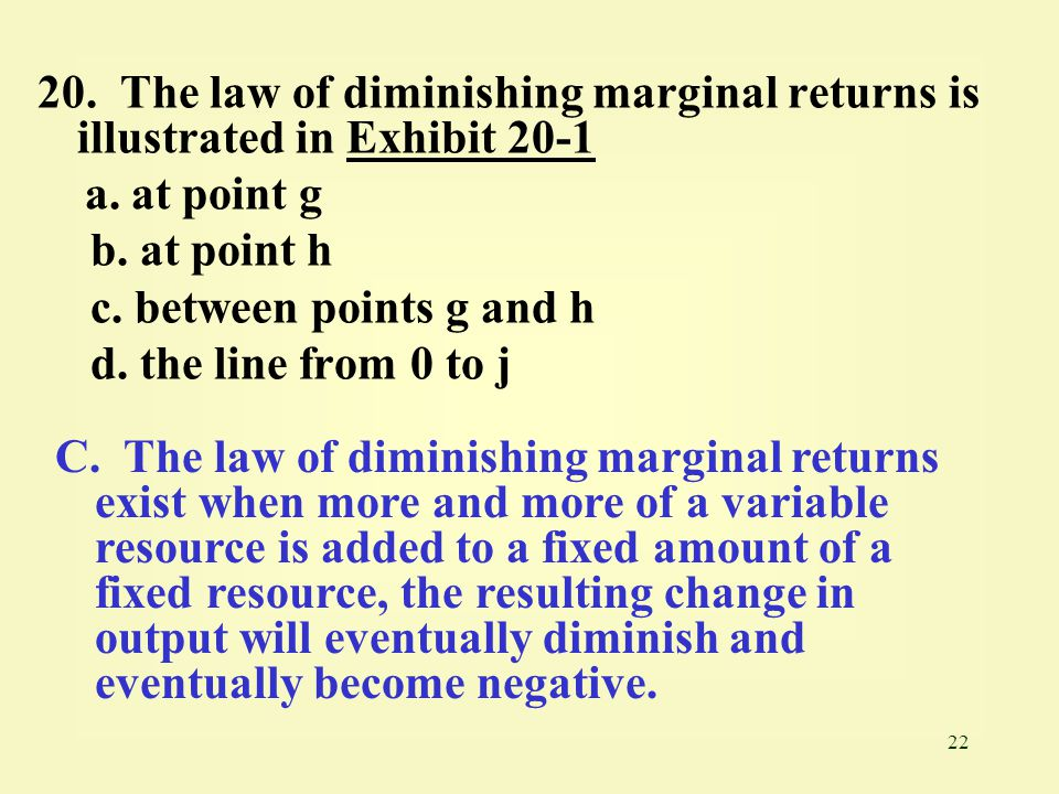 20. The law of diminishing marginal returns is illustrated in Exhibit 20-1