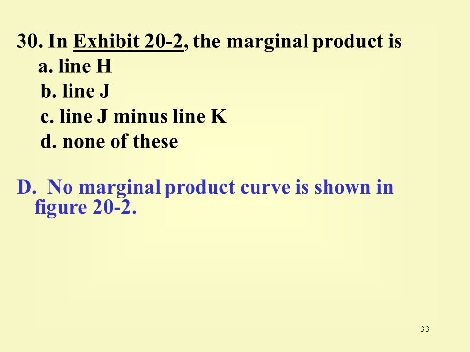 30. In Exhibit 20-2, the marginal product is