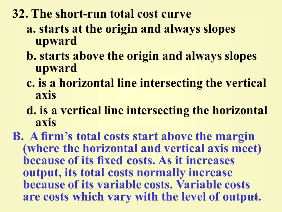 32. The short-run total cost curve