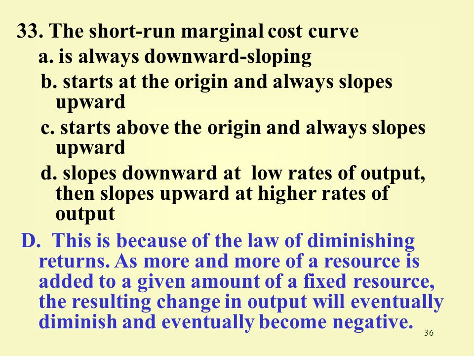33. The short-run marginal cost curve