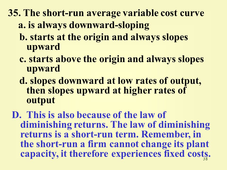 35. The short-run average variable cost curve