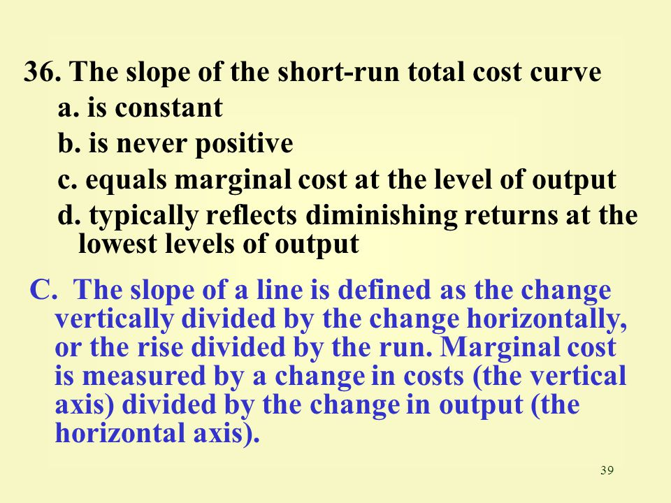 36. The slope of the short-run total cost curve