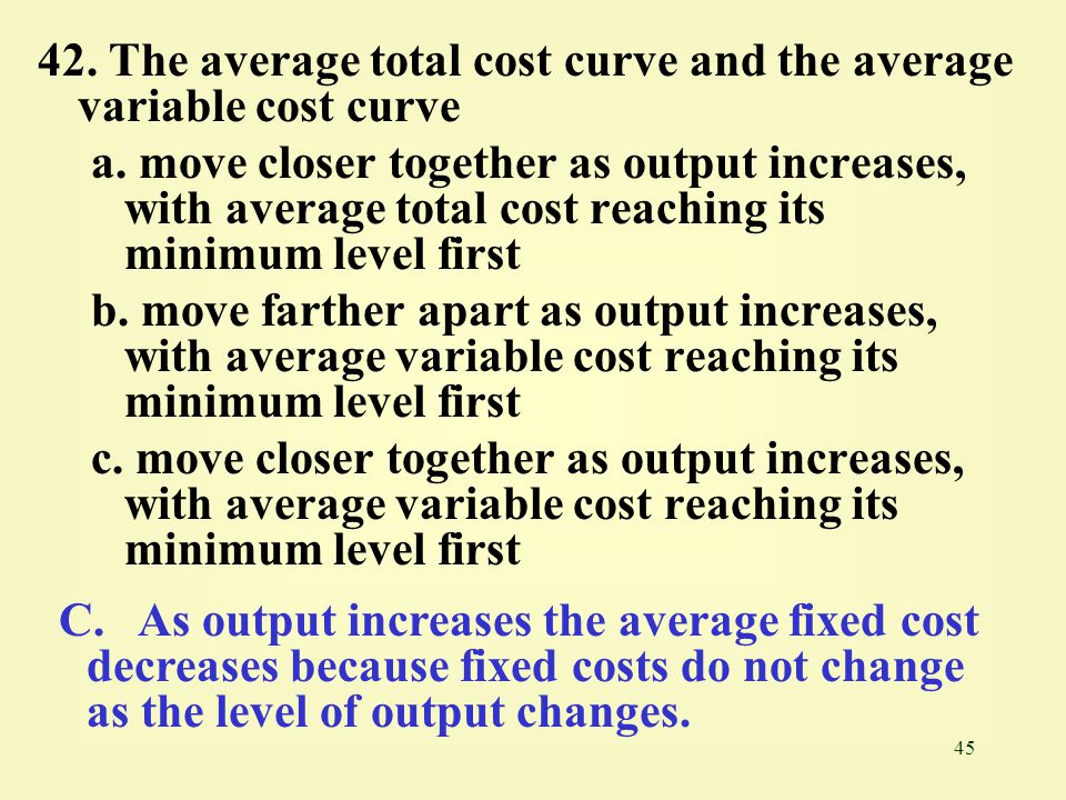 42. The average total cost curve and the average variable cost curve