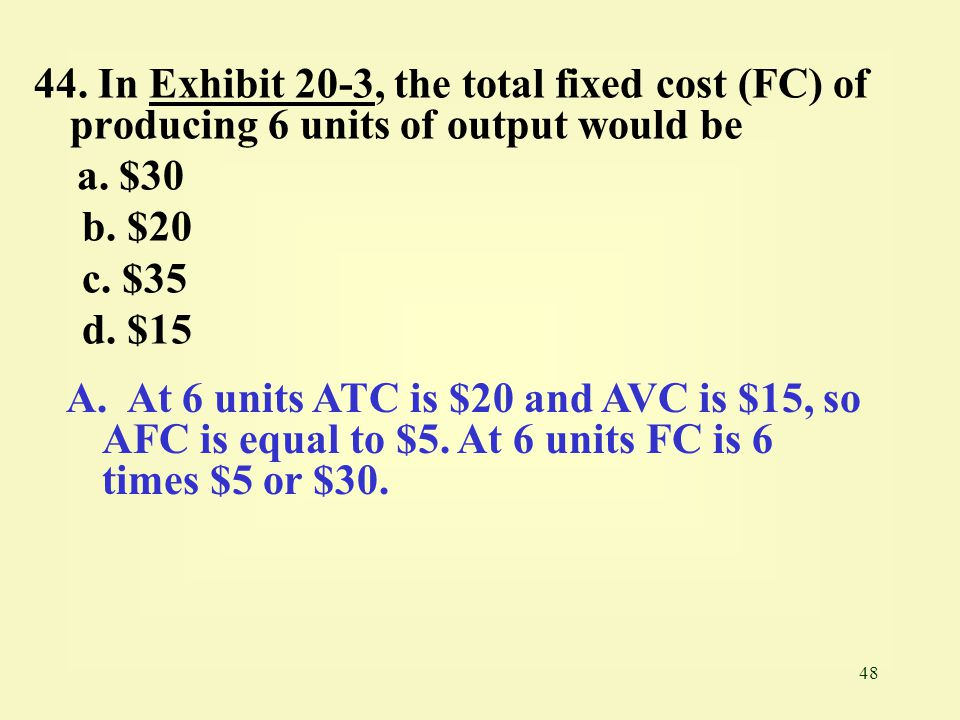 44. In Exhibit 20-3, the total fixed cost (FC) of producing 6 units of output would be