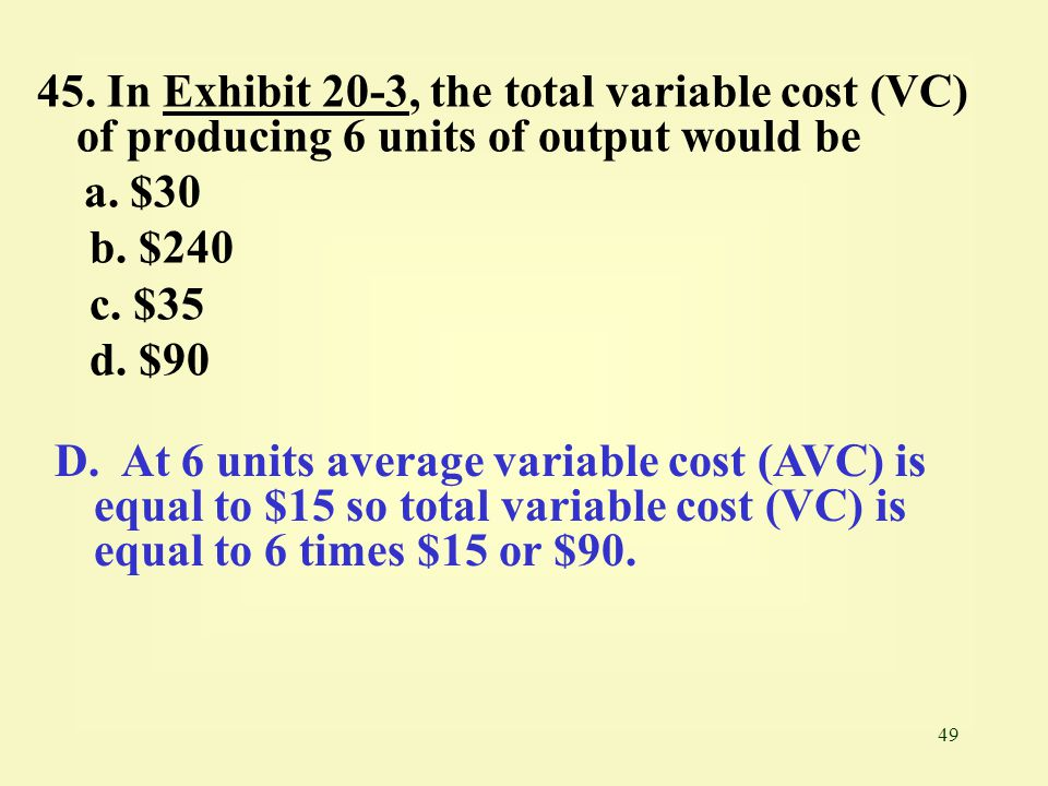 45. In Exhibit 20-3, the total variable cost (VC) of producing 6 units of output would be