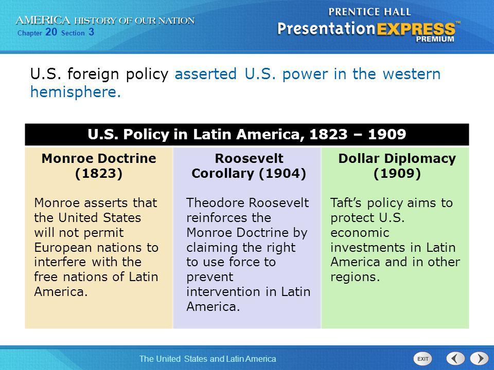 U.S. Policy in Latin America, 1823 – 1909 Roosevelt Corollary (1904)