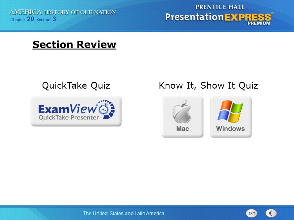 Section Review QuickTake Quiz Know It, Show It Quiz links added 18