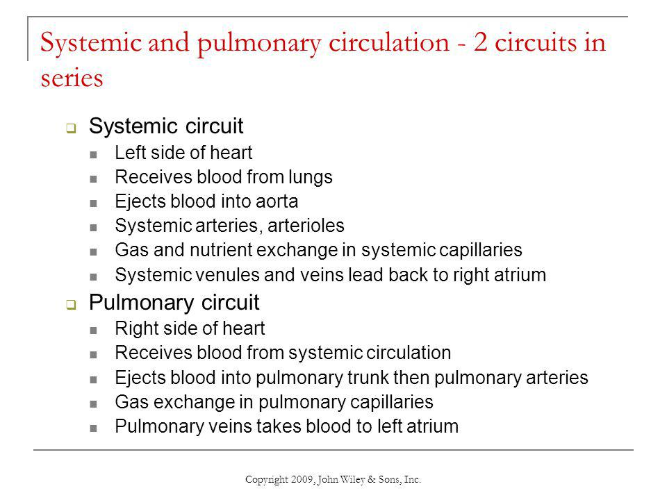 Systemic and pulmonary circulation - 2 circuits in series