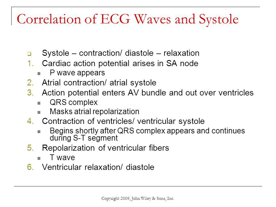 Correlation of ECG Waves and Systole