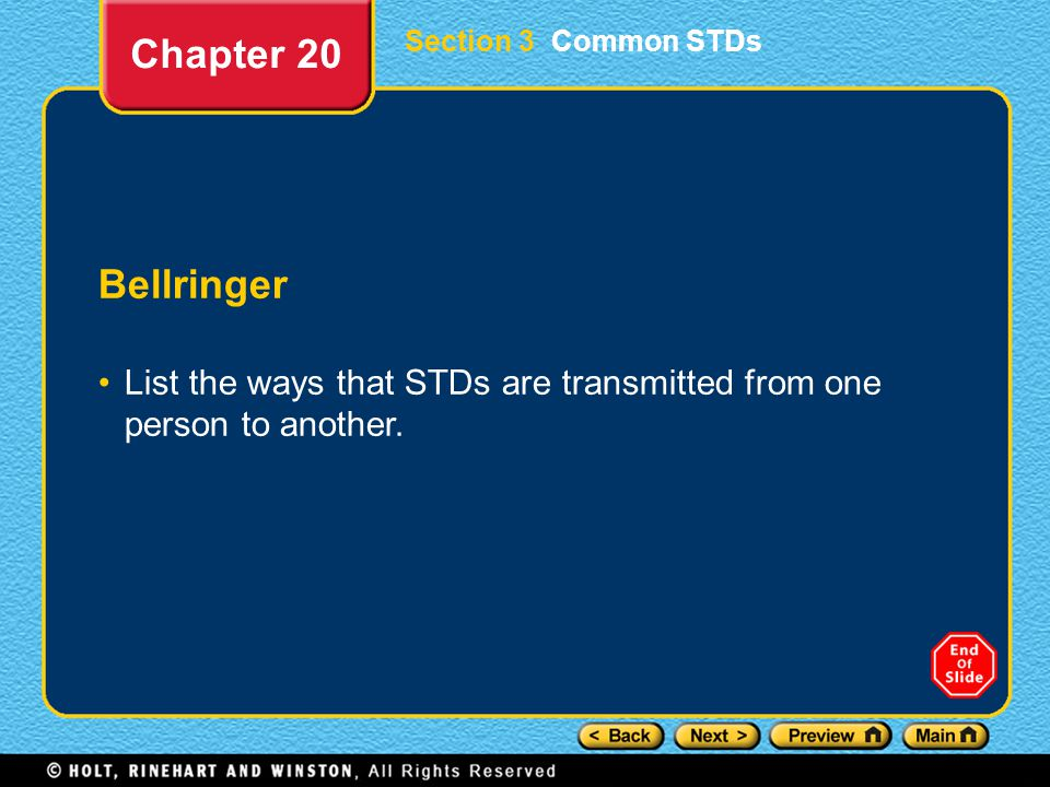 Chapter 20 Section 3 Common STDs. Bellringer.