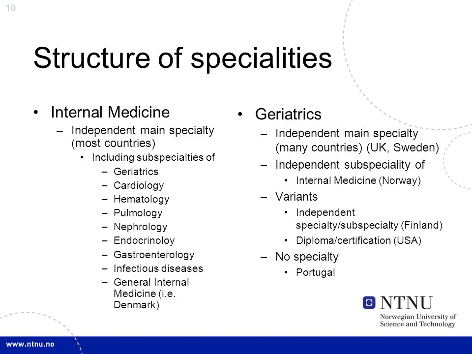 Structure of specialities