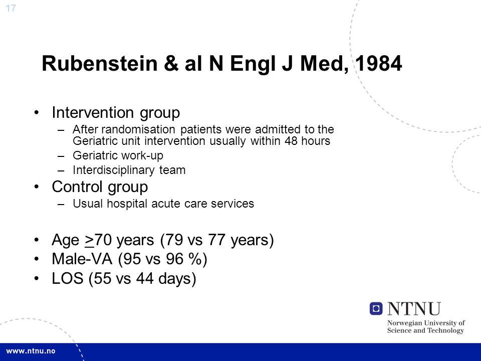 Rubenstein & al N Engl J Med, 1984