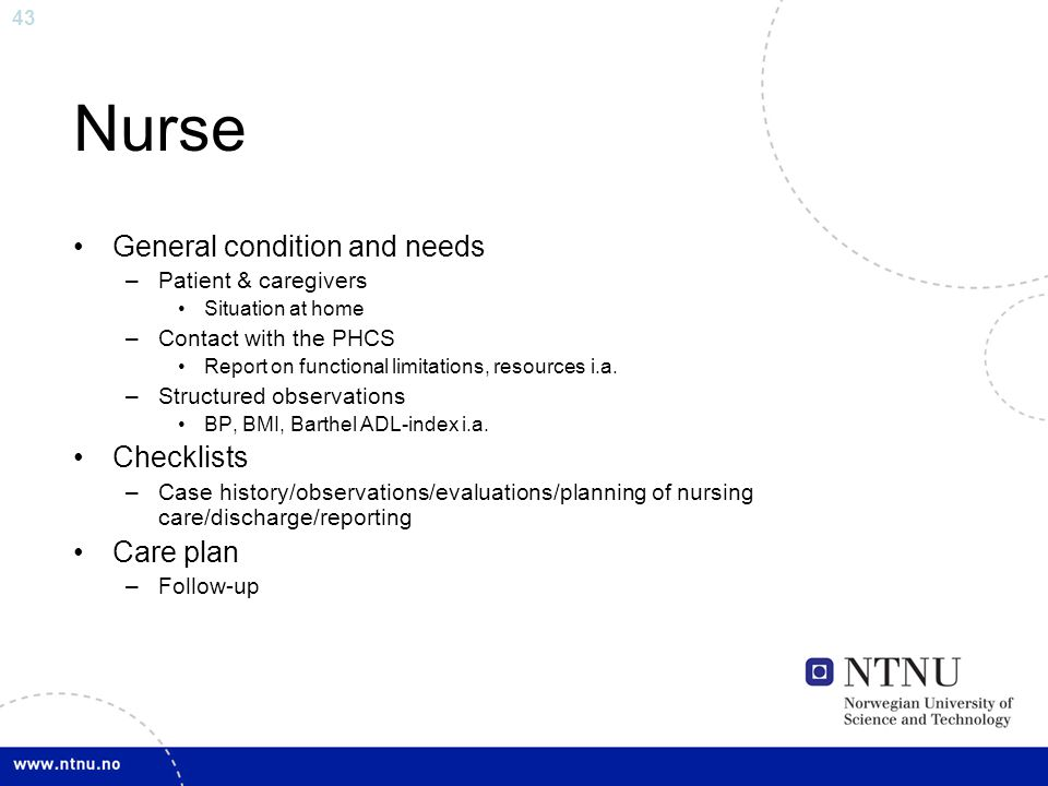 Nurse General condition and needs Checklists Care plan