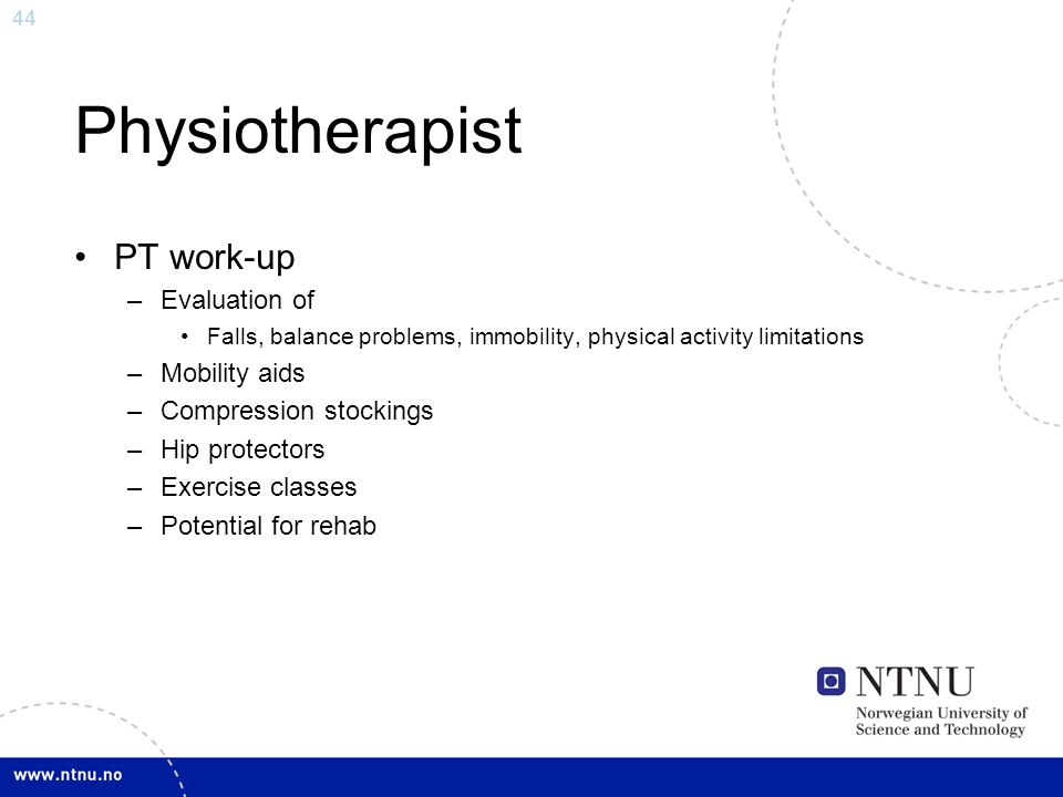 Physiotherapist PT work-up Evaluation of Mobility aids