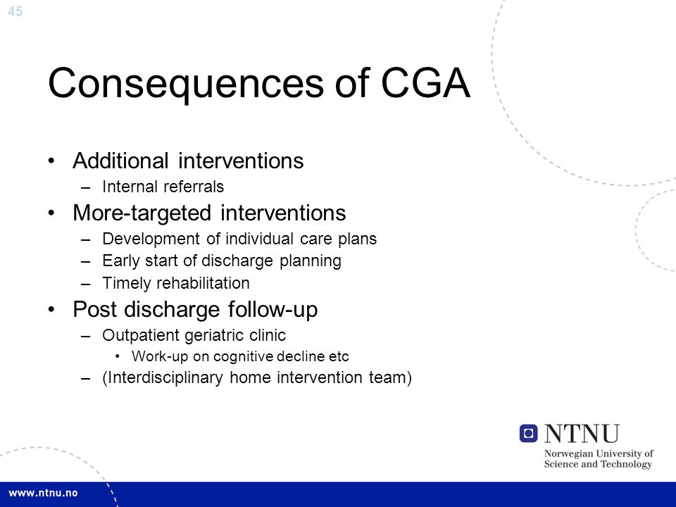 Consequences of CGA Additional interventions