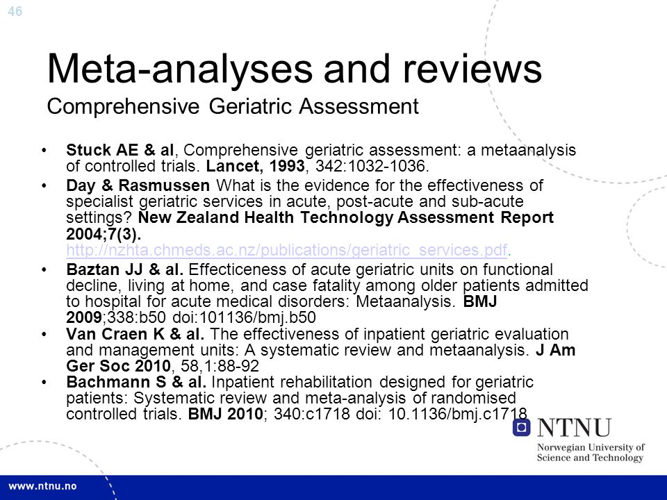 Meta-analyses and reviews Comprehensive Geriatric Assessment
