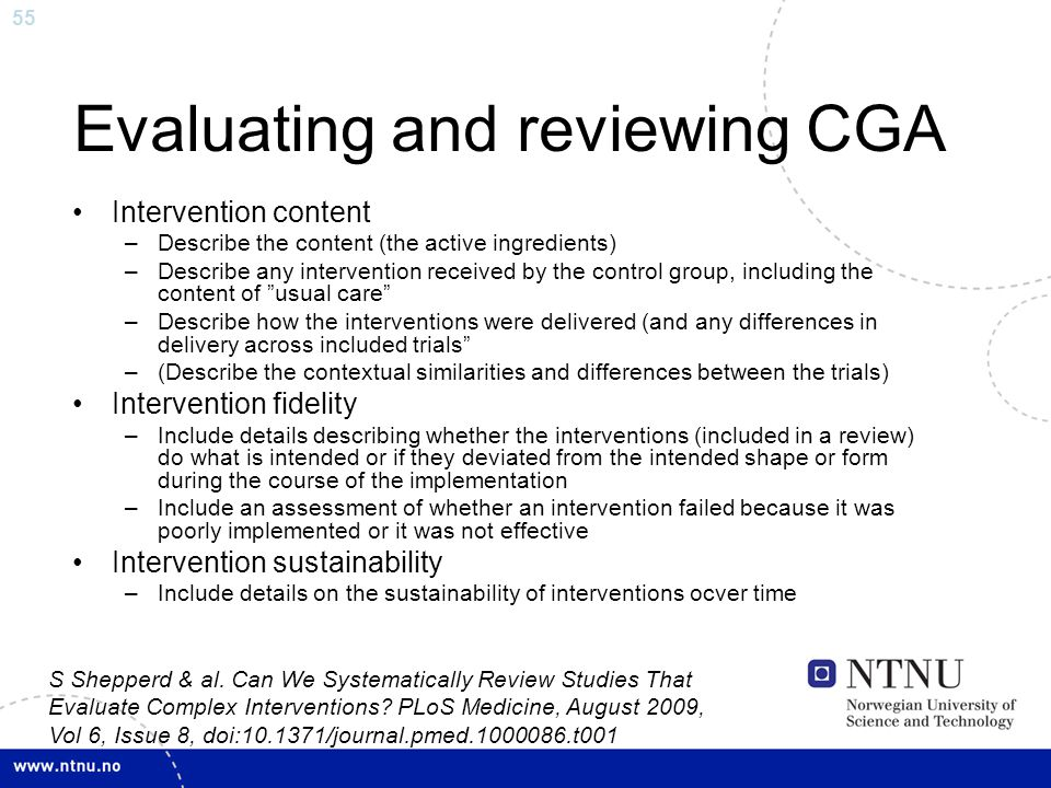 Evaluating and reviewing CGA