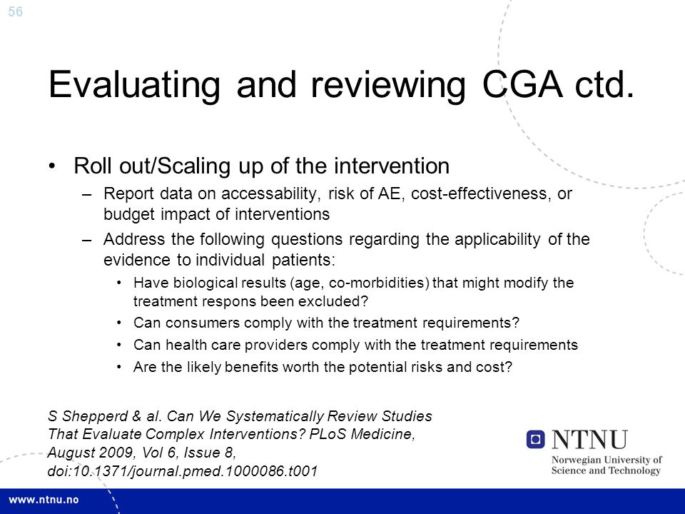 Evaluating and reviewing CGA ctd.
