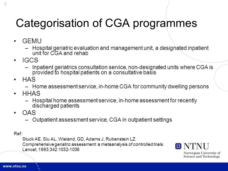 Categorisation of CGA programmes