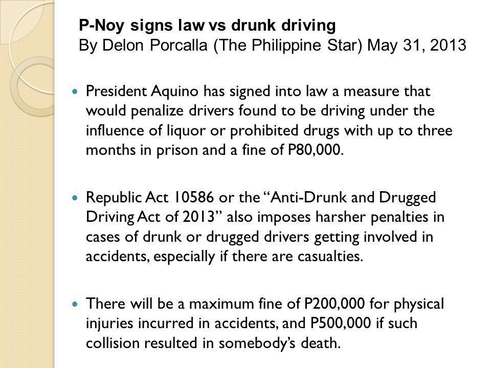 P-Noy signs law vs drunk driving