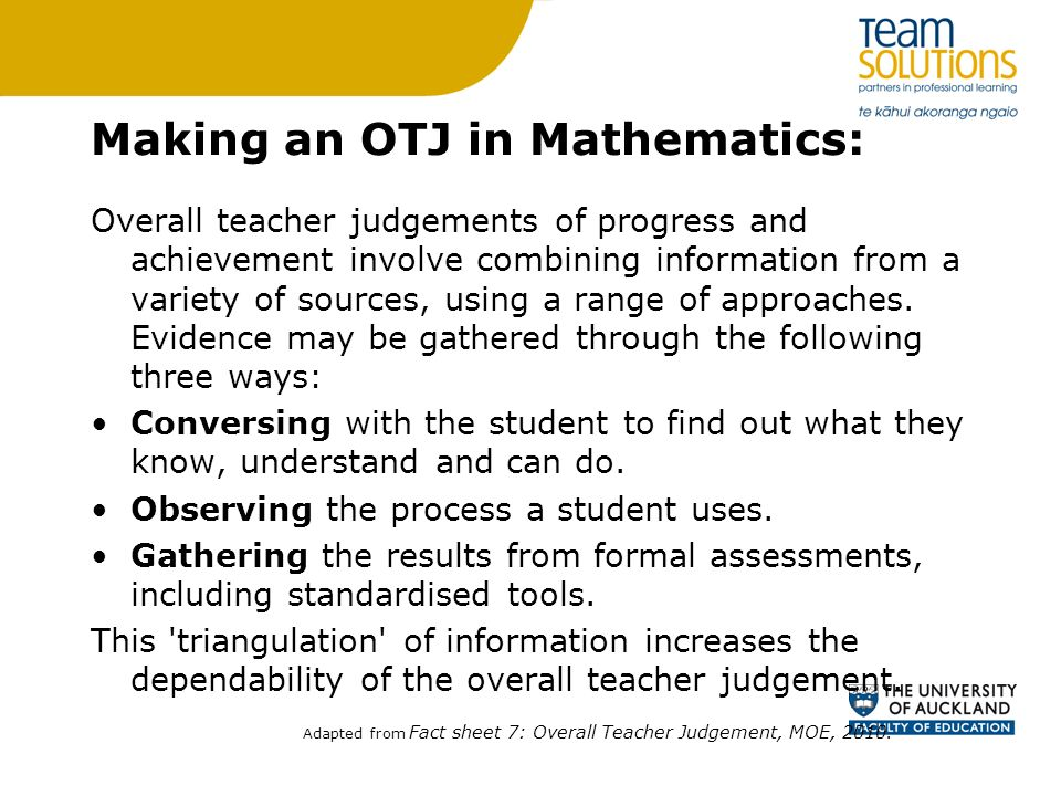 Making an OTJ in Mathematics: