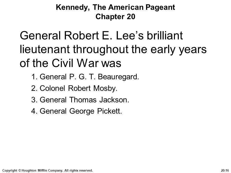 Kennedy, The American Pageant Chapter 20