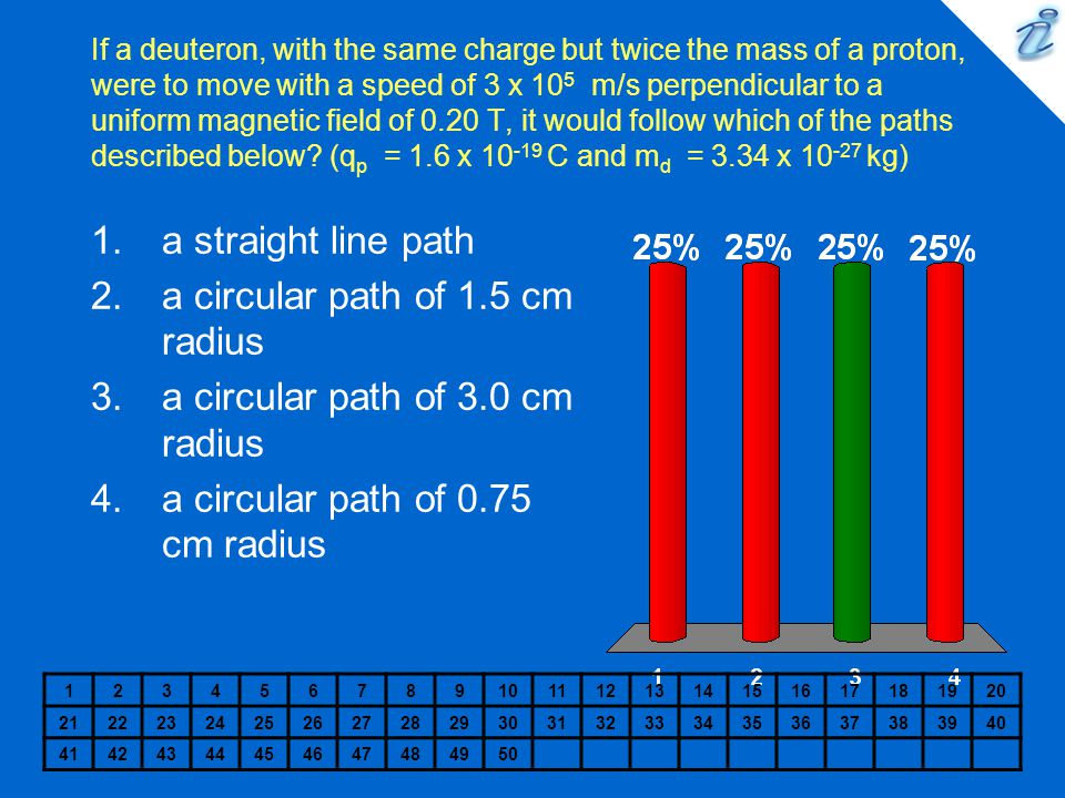 a circular path of 1.5 cm radius a circular path of 3.0 cm radius