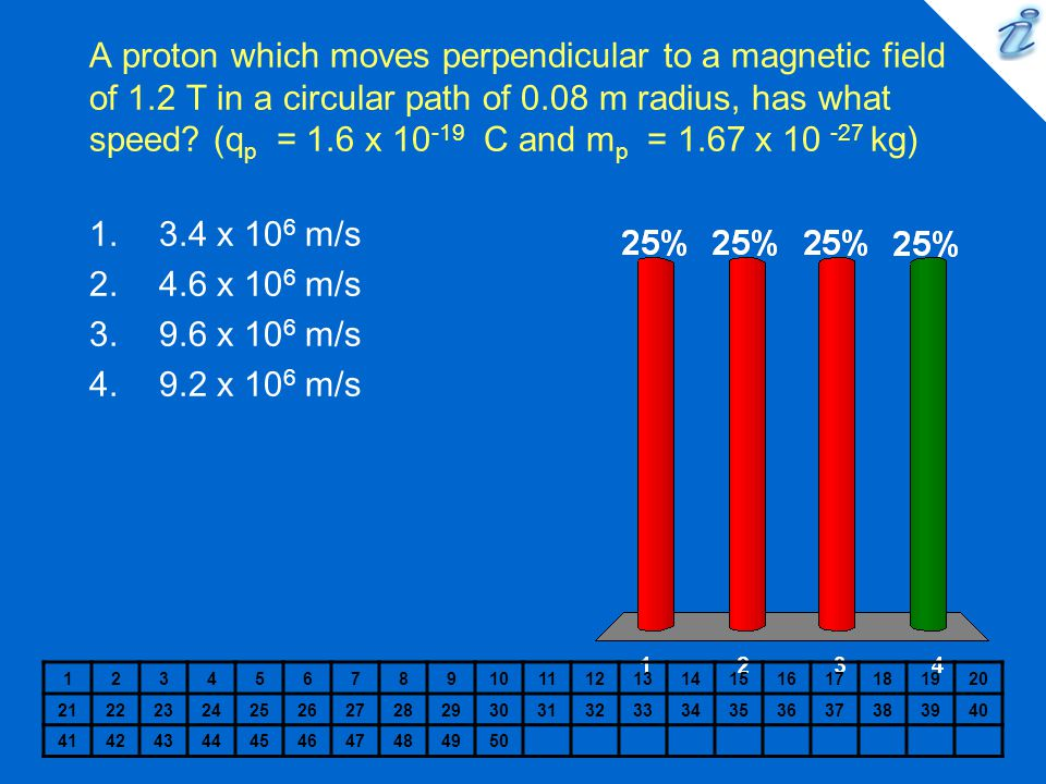 A proton which moves perpendicular to a magnetic field of 1