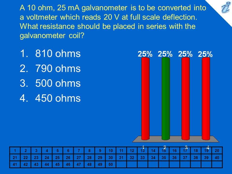 A 10 ohm, 25 mA galvanometer is to be converted into a voltmeter which reads 20 V at full scale deflection. What resistance should be placed in series with the galvanometer coil