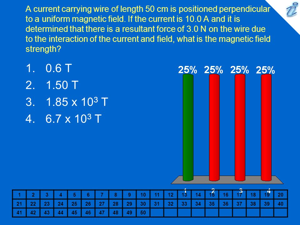 A current carrying wire of length 50 cm is positioned perpendicular to a uniform magnetic field. If the current is 10.0 A and it is determined that there is a resultant force of 3.0 N on the wire due to the interaction of the current and field, what is the magnetic field strength