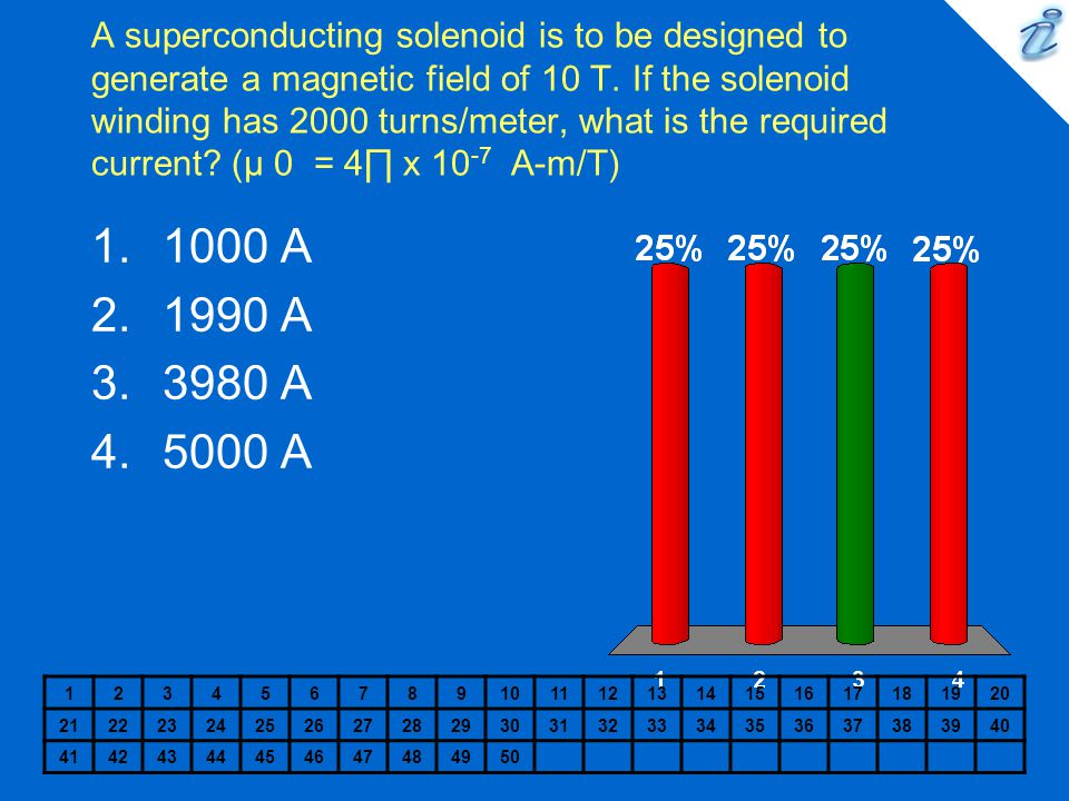 A superconducting solenoid is to be designed to generate a magnetic field of 10 T. If the solenoid winding has 2000 turns/meter, what is the required current (µ 0 = 4∏ x 10-7 A-m/T)