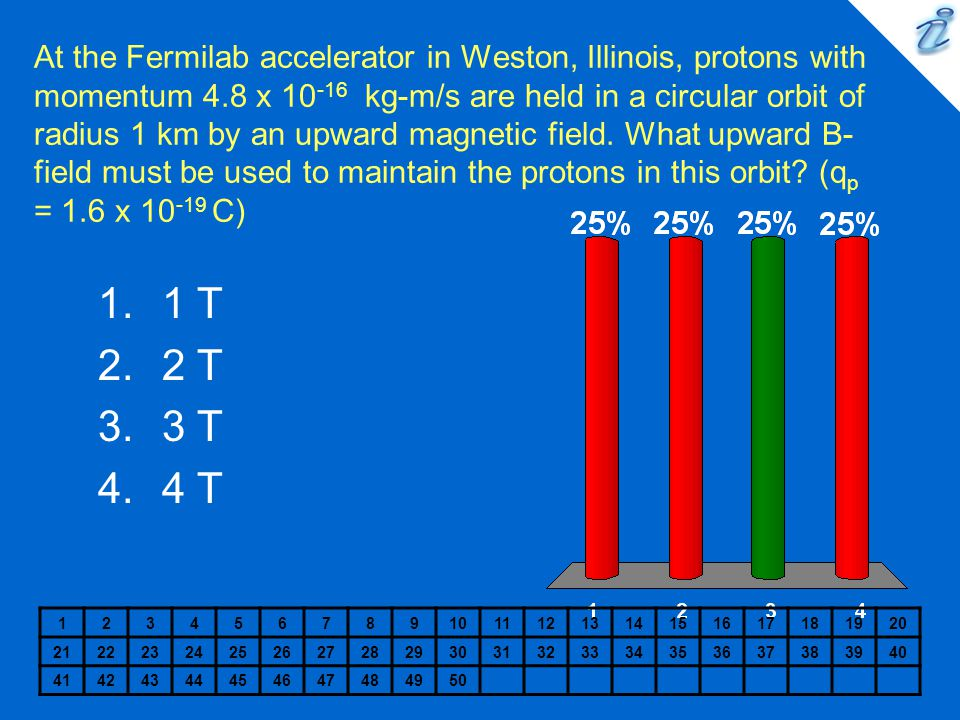 At the Fermilab accelerator in Weston, Illinois, protons with momentum 4.8 x 10-16 kg-m/s are held in a circular orbit of radius 1 km by an upward magnetic field. What upward B-field must be used to maintain the protons in this orbit (qp = 1.6 x 10-19 C)