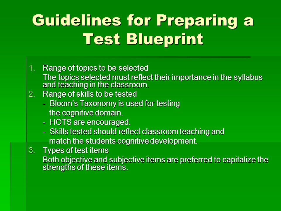 Guidelines for Preparing a Test Blueprint