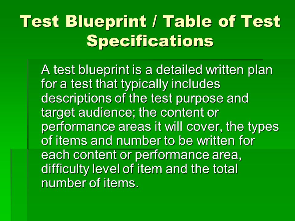 Test Blueprint / Table of Test Specifications