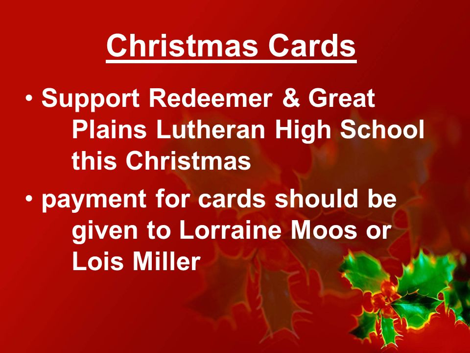 Christmas Cards Support Redeemer & Great Plains Lutheran High School this Christmas.