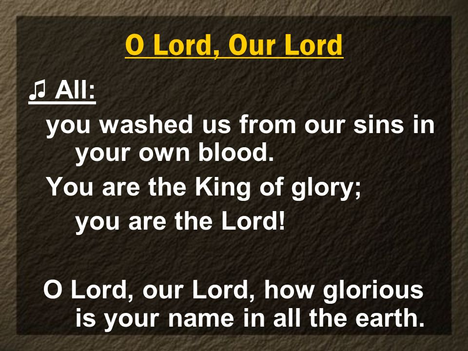 O Lord, Our Lord ♫ All: you washed us from our sins in your own blood.