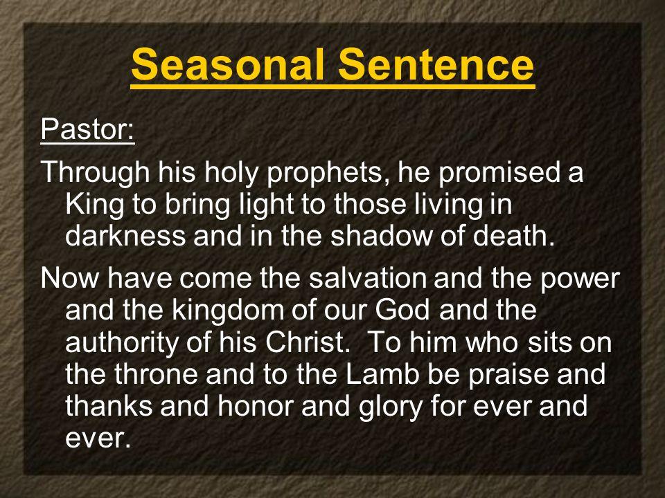 Seasonal Sentence Pastor: