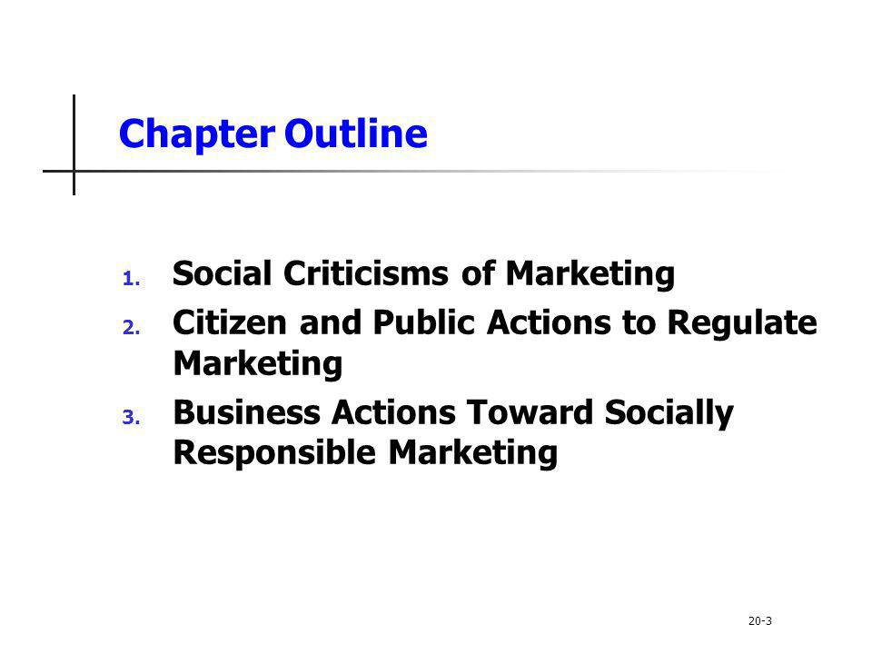 Chapter Outline Social Criticisms of Marketing