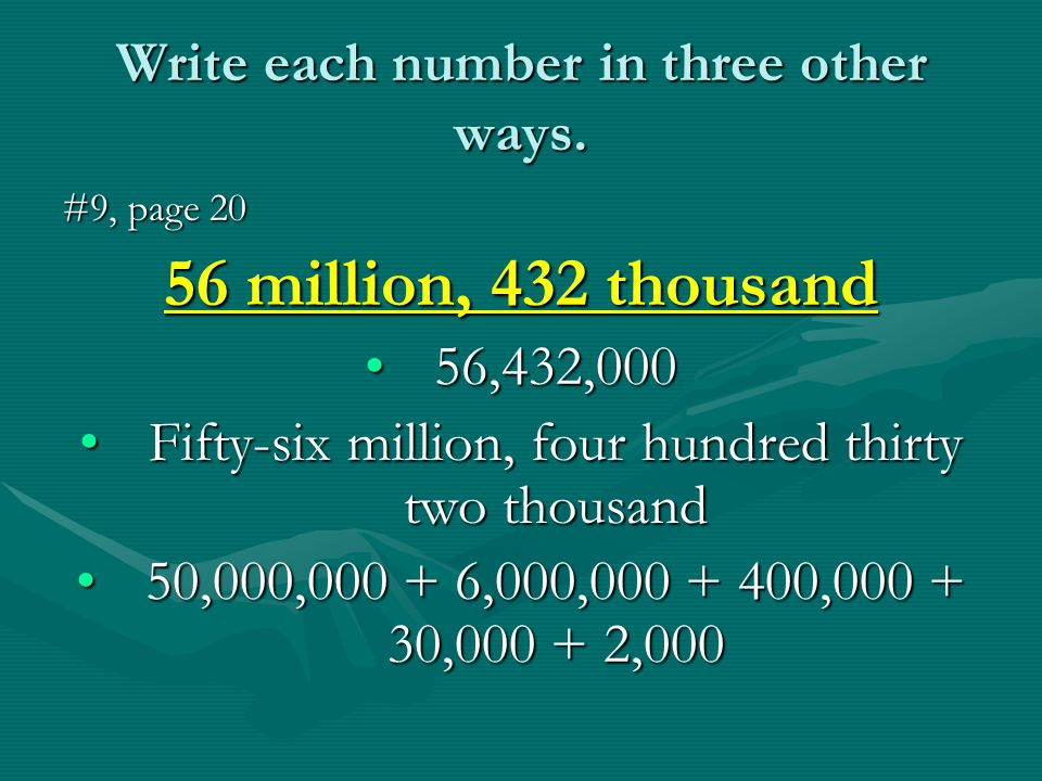 Write each number in three other ways.