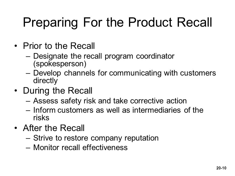 Preparing For the Product Recall