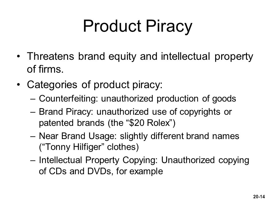 Product Piracy Threatens brand equity and intellectual property of firms. Categories of product piracy:
