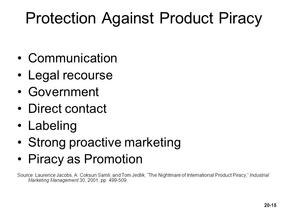 Protection Against Product Piracy
