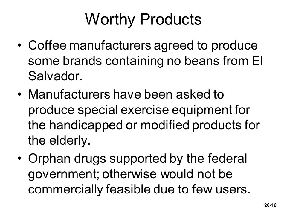Worthy Products Coffee manufacturers agreed to produce some brands containing no beans from El Salvador.