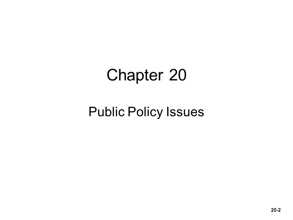 Chapter 20 Public Policy Issues