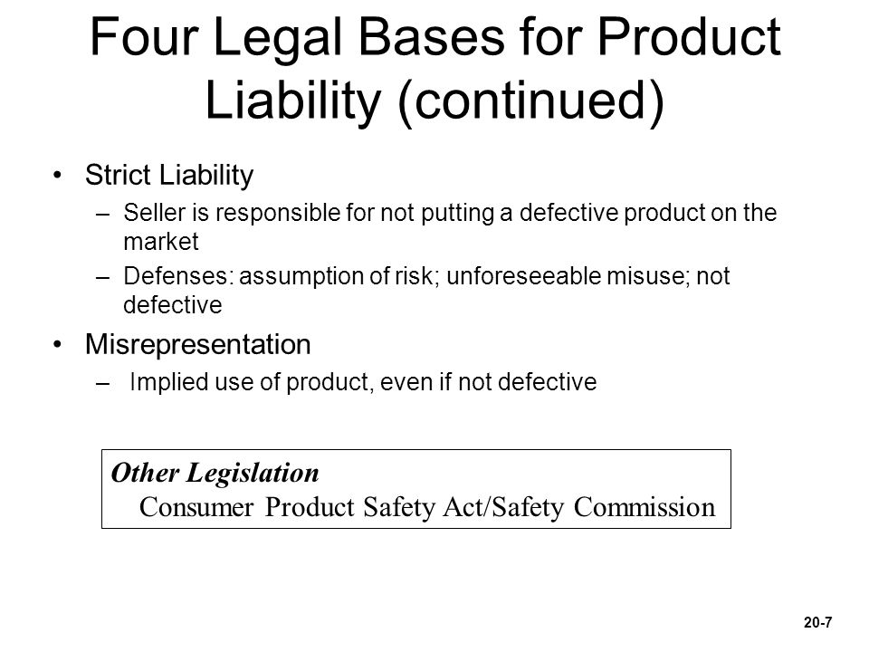Four Legal Bases for Product Liability (continued)