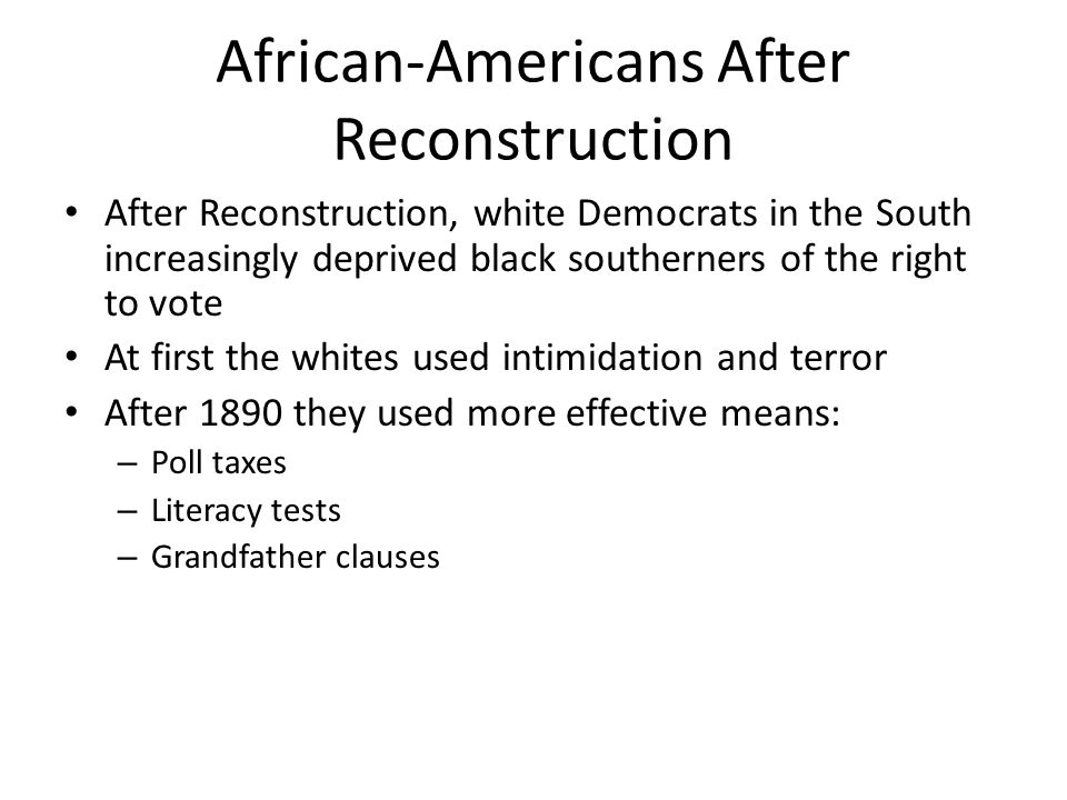 African-Americans After Reconstruction